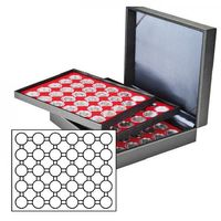 Coin case NERA XL with 3 trays and light red coin inserts for 90 coin capsules with external Ø 37,5 mm, e.g. for orig. encapsulated german 20 Euro-/10 Euro-commemorative coins pp – Bild 2