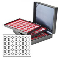 Coin case NERA XL with 3 trays and light red coin inserts for 15 Euro-Coin sets in LINDNER coin capsules – Bild 1