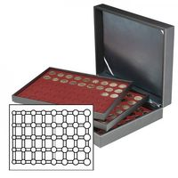 Coin case NERA XL with 3 trays and dark red coin inserts for 15 Euro-Coin sets in LINDNER coin capsules – Bild 1