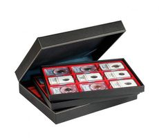 Coin case NERA XL with 3 trays and light red coin inserts for 27 US-coin capsules (Slabs) up to 63x85 mm – Bild 3