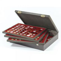 Authentic wood case CARUS with 4 trays for 192 coins/coin capsules up to Ø 30 mm or Champagne capsules – Bild 2