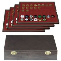 Authentic wood case CARUS with 4 trays for 192 coins/coin capsules up to Ø 30 mm or Champagne capsules – Bild 1