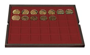 Authentic wood case CARUS with 4 trays for 140 coins/coin capsules up to Ø 36 mm – Bild 4