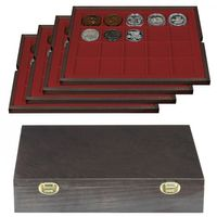 Authentic wood case CARUS with 4 trays for 80 coins/coin capsules up to Ø 47 mm – Bild 1