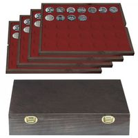 Authentic wood case CARUS with 4 trays for 140 coins with Ø 32,5 mm, e.g. for 10 or 20 EURO silver coins GERMANY – Bild 1