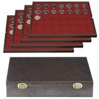 Authentic wood case CARUS with 4 trays for 140 coin capsules with external Ø 32 mm, e.g. for 2 EURO coins in LINDNER coin capsules – Bild 1