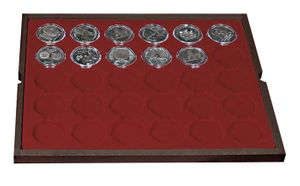 Authentic wood case CARUS with 4 trays for 120 coin capsules with external Ø 37 mm, e.g. for 10 or 20 EURO silver coins GERMANY (PL) in original capsules.  – Bild 4