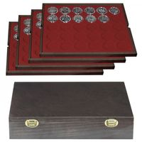 Authentic wood case CARUS with 4 trays for 120 coin capsules with external Ø 37 mm, e.g. for 10 or 20 EURO silver coins GERMANY (PL) in original capsules.  – Bild 1