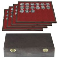 Authentic wood case CARUS with 4 trays for 120 coin capsules with external Ø 39 mm,e.g. for 10 or 20 EURO silver coins GERMANY in LINDNER coin capsules.  – Bild 1