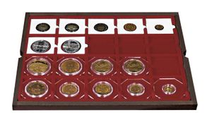 Authentic wood case CARUS for 80 coin holders 50x50 mm/coin capsules CARRÉE/OCTO coin capsules – Bild 4
