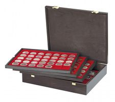 Authentic wood case CARUS with 4 trays for 127 coins with different Ø  – Bild 1