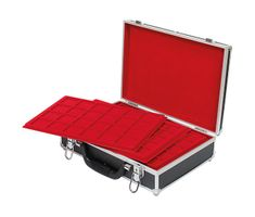 Large coin collection case with 8 coin tablets in 5 different tablet-variations for different coin sizes. – Bild 1