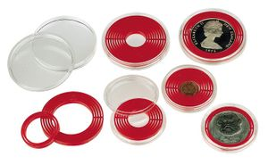 LINDNER Coin box capsule, large, 16 - 51 mm Ø with light red inlett - pack of 10 – Bild 5