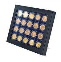 Cadre-Box monnaies  CHASSIS, noir mat, avec box monnaies- gris / plateau bleu pour capsules CARRÉE/OCTO/étuis numismatiques 50x50 mm – Bild 1