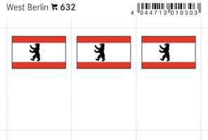 Flaggen-Sticker: West Berlin, 24 x 38 mm, 6er-Packung