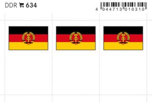 Flaggen-Sticker: DDR, 24 x 38 mm, 6er-Packung