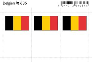 Flaggen-Sticker: Belgien, 24 x 38 mm, 6er-Packung