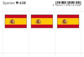 Flaggen-Sticker: Spanien, 24 x 38 mm, 6er-Packung
