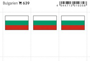 Flaggen-Sticker: Bulgarien, 24 x 38 mm, 6er-Packung