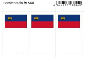 Flaggen-Sticker: Liechtenstein, 24 x 38 mm, 6er-Packung
