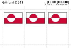 Flag-stickers: Greenland, 24 x 38 mm - pack of 6