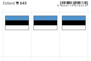 Flaggen-Sticker: Estland, 24 x 38 mm, 6er-Packung