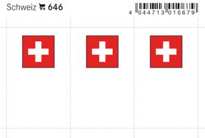 Flag-stickers: Switzerland, 24 x 38 mm - pack of 6