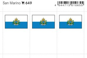 Flaggen-Sticker: San Marino, 24 x 38 mm, 6er-Packung