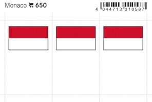 Flaggen-Sticker: Monaco, 24 x 38 mm, 6er-Packung
