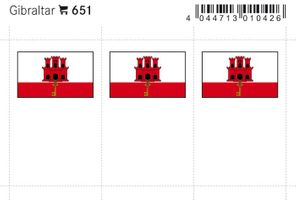 Flag-stickers: Gibraltar, 24 x 38 mm - pack of 6