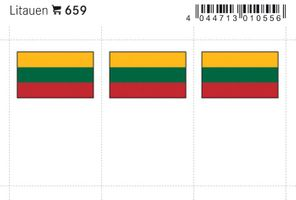 Flag-stickers: Lithuania, 24 x 38 mm - pack of 6