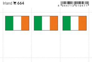 Flaggen-Sticker: Irland, 24 x 38 mm, 6er-Packung