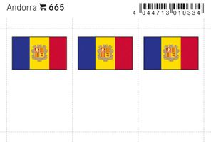 Flaggen-Sticker: Andorra, 24 x 38 mm, 6er-Packung
