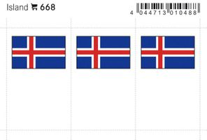 Flag-stickers: Iceland, 24 x 38 mm - pack of 6