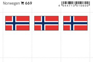 Flag-stickers: Norway, 24 x 38 mm - pack of 6