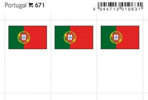 Flaggen-Sticker: Portugal, 24 x 38 mm, 6er-Packung