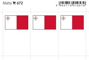 Flaggen-Sticker: Malta, 24 x 38 mm, 6er-Packung