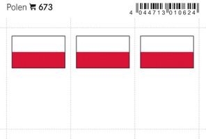 Flag-stickers: Poland, 24 x 38 mm - pack of 6