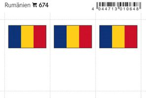 Flag-stickers: Romania, 24 x 38 mm - pack of 6