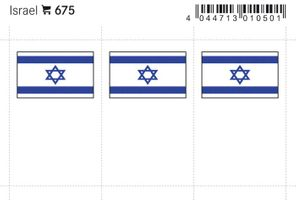 Flag-stickers: Israel, 24 x 38 mm - pack of 6