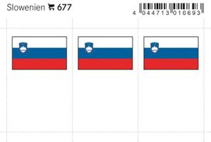 Flag-stickers: Slovenia, 24 x 38 mm - pack of 6