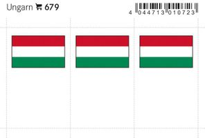 Flag-stickers: Hungary, 24 x 38 mm - pack of 6