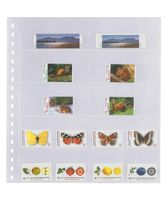 Crystal clear pocket page with 10 pockets (53 x 120 mm), with black backing page