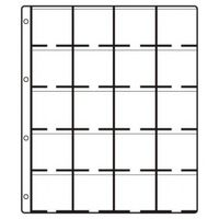 HARTBERGER Coin holder pages STANDARD, with 20 pockets for 20 coin holders 50 x 50 mm - pack of 10 (GM 20)