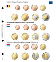 Illustrated page karat for EURO coin sets : Belgium/Netherlands/Luxembourg
