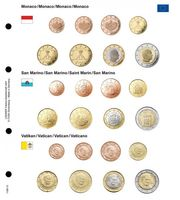 Illustrated page for EURO coin sets : Monaco/San Marino/Vatikan