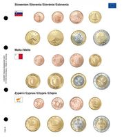 Illustrated page karat for EURO coin sets : Slovenia/Malta/Cyprus