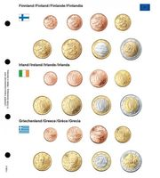Illustrated page for EURO coin sets : Finland/Ireland/Greece
