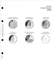Illustrated page 10 EURO commemorative coins - 2010 Germany