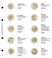 Illustrated page karat for 2 EURO commemorative coins : Greece 2004 - Italy 2005